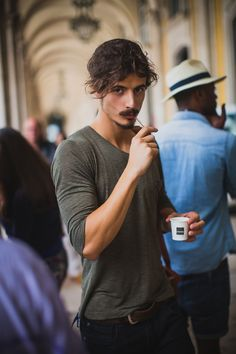 Thank God for coffee breaks. Candid of Portuguese male model Mauro Viana (@ We Are Models) at ModaLisboa. #menswear #malemodel #streetstyle
