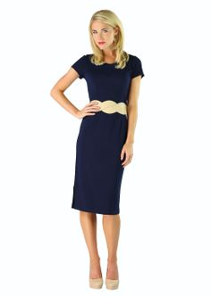 A simply classic dress with princess seams. Small back center slit (no side slit like the picture shows). Slight stretch. Perfect for any occasion! Sara in Navy Blue
