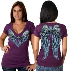 Women's Angel Wings Heart Tee is a Beautiful Addition to your Riding Apparel. An angel wing tee for those who don't want to wear black all the time! Heart Shaped Angel Wings on Front with a Full Set of Wings on the Back. Short Sleeve Classic Tee. Soft 100% Cotton in a Beautiful Plum Color. Deep V-Neck. A beautiful top - and you don't need to be an angel to wear it! #motorcycle #angel http://www.doubledcycles.com/womens-angel-wings-heart-t-shirt