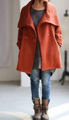 Orange double breasted short short Coat (sold but love her c.- Orange double breasted short short Coat (sold but love her coats – on Etsy: MaLieb) - Winter Wear, Autumn Winter Fashion, Autumn Casual, Looks Style, Style Me, Minimalist Dress, Look Fashion, Womens Fashion, Mode Inspiration
