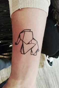 Elefant Tattoo Origami Tier Elephant Animal Origami Tattoo, Origami Elephant Tattoo, Tatoo Elephant, Elephant Tattoo Design, Geometric Elephant Tattoo, Foot Tattoos, Body Art Tattoos, Small Tattoos, Sleeve Tattoos