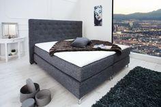 Boxspringbett PRESTIGE 180x200cm Hotelbett anthrazit mit Steppung Federkern