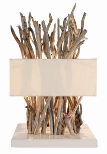 Lampe en bois flotte bleu nature - Lampe en bois