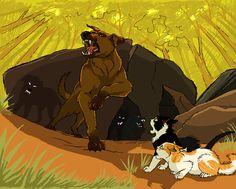 Swiftpaw, Brightpaw, and the savage dog pack that kills Swiftpaw and wounds Brightpaw badly.