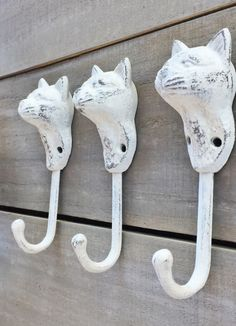 Cast Iron Cat Wall Hook Distressed Off White by TrueNorthHome on Etsy https://www.etsy.com/listing/489748991/cast-iron-cat-wall-hook-distressed-off