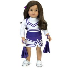 "**SALE** Set 2 PURPLE /& SILVER Cheerleader POM POMS fits 18/"" AMERICAN GIRL DOLL"