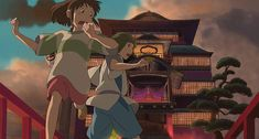 Chihiro, female protagonist in Spirited Away (Hayao Miyazaki, Studio Ghibli, 2001) heeds the warnings of the mysterious Haku.