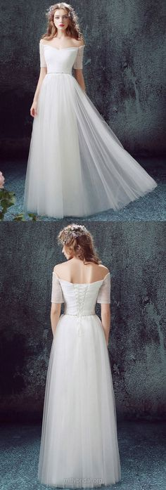 White Wedding Dresses A-line, Cheap Wedding Dresses 2018 Off-the-shoulder, Long Wedding Dresses Tulle Ruffles, Modest Bridal Gowns Short Sleeve