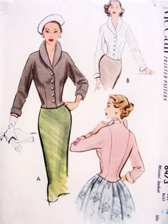 1950s Stylish Jacket Pattern McCall 8473 Beautiful Shawl Collar Fitted Short Jacket With Cuffs Bust 32 Vintage Sewing Pattern FACTORY FOLDED
