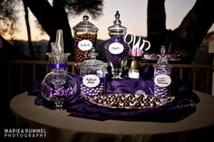 Candy table in shades of purple and brown - photo by Mariea Rummel Photography