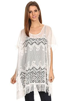 LL Womens Chiffon Caftan Poncho Tunic Cover Up Top Summer Spring Many Styles White Lace Fringe >>> To view further for this item, visit the image link.