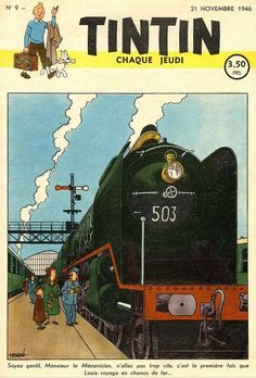 "Tintin voyage par le train, Nov. 1946. Belgian ""Mikado"" type steam locomotive."