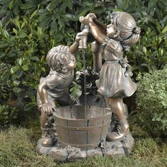 Fountain Cellar Boy and Girl Water Fountain without Light