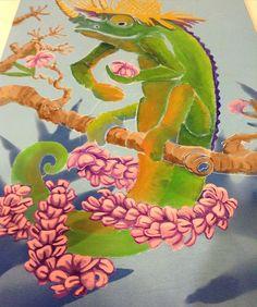 Finishing up this lei on this jackson chameleon lei maker piece #hawaiiart #hawaiiartist #wip #jacksonchameleon #lei #aloha #hawaii #illustration #painting #arte #art #artmagazine #illustratedmonthly #artwork #artgallery #sketch #paint #jacobmedina #nature #pintar #draw #drawing #instaart #hilo #illustrator by jacobartmedina