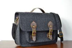 Laptop Bag 13 in with leather strap Felt by FeltDesignStudio