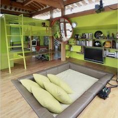Jugendzimmer gestalten – 100 faszinierende Ideen - jugendzimmer gestalten grüne akzente dekokissen quadratbett tv