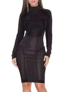 Стильный круглым воротом с длинным рукавом Ажурные платья для женщин