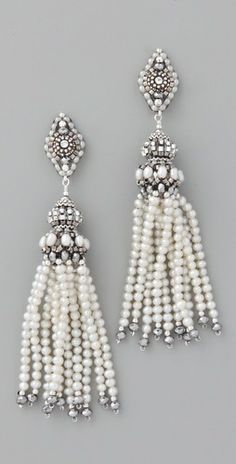 ♥ Miguel Ases - Pearl Tassel Earrings with Pyrite Quartz.