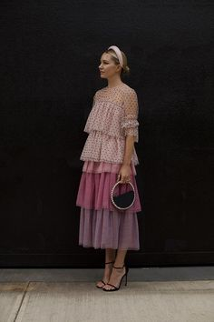 Pretty Dresses Blair Eadie wearing a tiered tulle skirt with a flocked dot tulle top // Both pieces from the Atlantic-Pacific x Halogen collection at . Look Fashion, Fashion Models, Spring Fashion, Womens Fashion, Fashion Design, Fashion Details, Fashion Tips, Modest Fashion, Fashion Dresses
