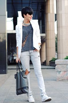 Dark Grey Distressed Ripped Front Long Sleeve Jumper Sweater