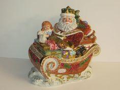 Fitz & Floyd King Wenceslas Santa Christmas Sleigh Cookie Jar in Original Box
