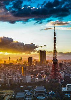 Japan - Tokyo - Tokyo Tower cityscape sunset at dusk - SKU 0051