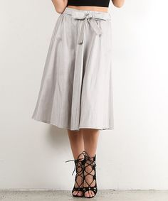 Gray Bow A-Line Skirt