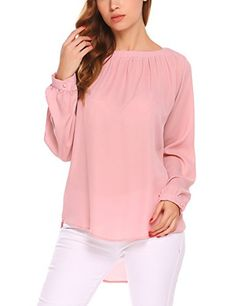 9ff357b201a online shopping for SE MIU Women's Long Sleeve Solid Crew Neck Pleated  Chiffon Blouse Tunic Shirt Tops from top store. See new offer for SE MIU  Women's Long ...