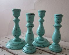 Candle holders  Wooden candle sticks  Cottage chic  by 6miles