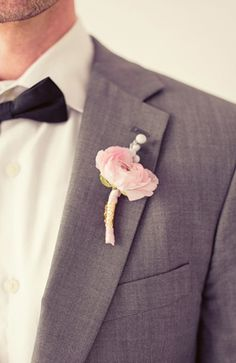 skinny grey suit, skinny black bowtie, sweet, pink boutoniere   nbarrett Photography  loverly.ly   #greysuit #groomstyle