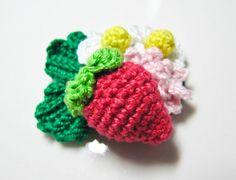 Crochet Pattern  Strawberry Flower Motif Applique  Cute by Ellyne, $4.30