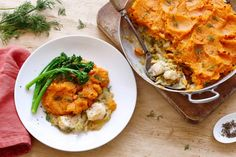 Feed your family this super easy and healthy fish pie. With fluffy mashed sweet potato on top, everyone will be clamoring for more.