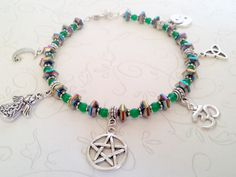 Co Exist in Hematite & Green Jade Anklet Hand Crafted by Isis Creations fits Size 9.5 - 10.5 ~ Wiccan, Pagan Artisan Jewelry for Summer by IsisCreationz on Etsy