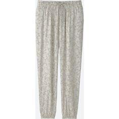 UNIQLO Women's Drape Pants (4.135 HUF) via Polyvore featuring pants, natural, white elastic waist pants, white drawstring pants, white loose pants, white trousers and rayon pants