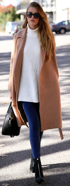 Josefin Elkstrom Camel Coat On White And Blue Fall Streetstyle Inspo