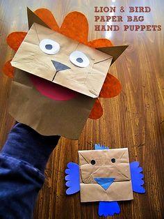 Lion and Bird Paper Bag Hand Puppets - creative kids craft!
