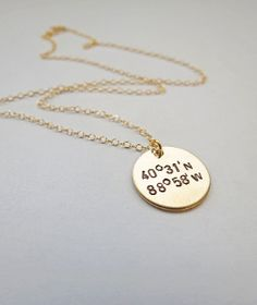 Personalized Coordinates Necklace - Gold Jewelry - GPS Location - Personalized Necklace - Mothers Gift - Anniversary Gift - New Baby - Friends - Monogrammed - Engraved - starting at $35 at www.jewelrybyrmsmith.com