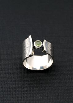 Fern wrap ring sterling silver band with peridot by LucieVeilleux