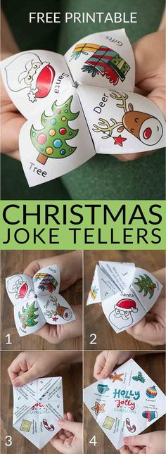 Christmas joke tellers christmas jokes for kids school party christmas party free printable holiday jokes for kids cootie catcher fortune teller christmas fortuneteller joketeller christmasforkids Christmas Jokes For Kids, School Christmas Party, Noel Christmas, Christmas Projects, Winter Christmas, Christmas 2019, Family Christmas, Christmas Activities For Children, Class Christmas Gifts