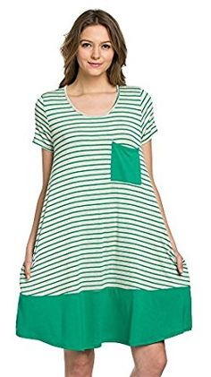 My Space Clothing Women's Stripe Color Block Dress(Small-2XL size) - Made in USA. Stretchy.