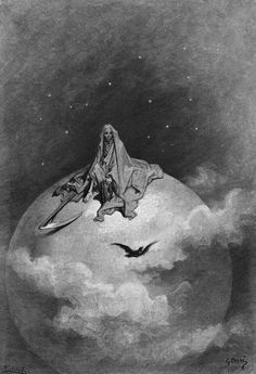 "blackpaint20: "" son—of-dawn: "" Gustave Doré illustrating ""The Raven"" by Edgar Allan Poe. "" one of my favorites!zl """