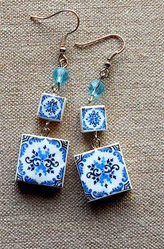 PORTUGAL Antique Blue Azulejo Tile Earrings from Viana do by Atrio, $16.00