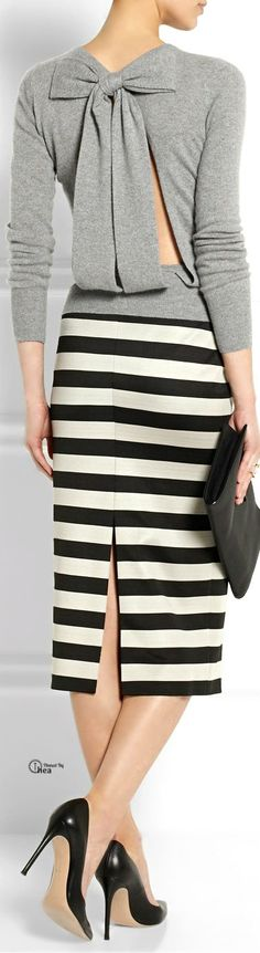 Burberry Prorsum | Striped satin-jersey pencil | @roressclothes closet ideas women fashion outfit clothing style