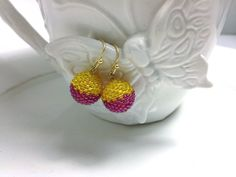 Two Tone Beaded Bead Earring in Berry Purple & by frompgwithlove, $18.00