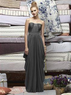 Strapless full length crinkle chiffon dress with matching matte satin belt at natural waist. Draped bodice and skirt.   http://www.dessy.com/dresses/lelarose/lr163/