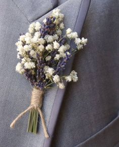 Set of 5  Real Babys Breath Boutonniere  Real Lavender