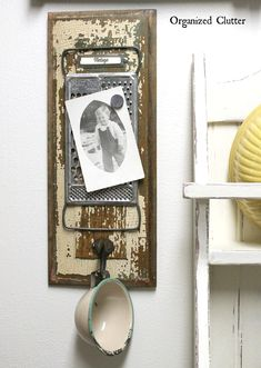 Magnetic vintage grater photo frame, by Organized Clutter, featured on Funky Junk Interiors