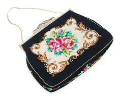 Vintage needlepoint tapestry black floral bag gold by Aerosvar