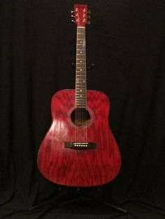 "Traditional Dreadnaught Acoustic "" Wild Cherry"" Swamp Ash 