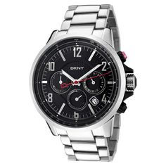 DKNY NY1326 Men's Large Black Dial Steel Bracelet Chrono Quartz Watch